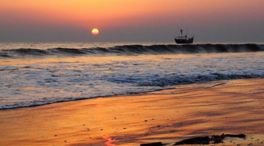 Scenic beauty of the Sun and the nature Kuakata sea beach